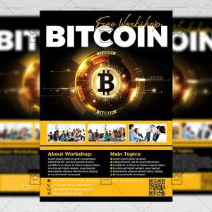 Download Bitcoin Workshop PSD Flyer Template Now