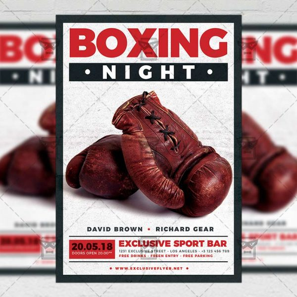 Download Boxing Night PSD Flyer Template Now