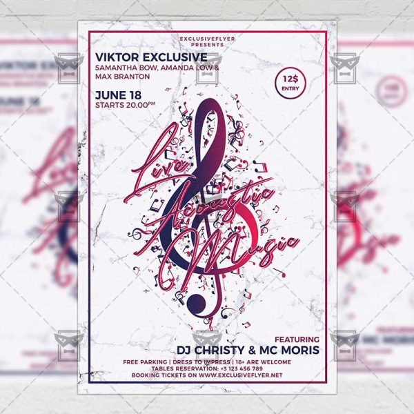 Download Live Acoustic Music PSD Flyer Template Now