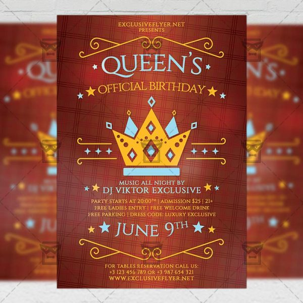 Download Queens Official Birthday PSD Flyer Template Now