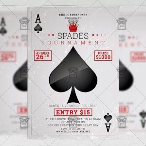 Download Spades Tournament PSD Flyer Template Now