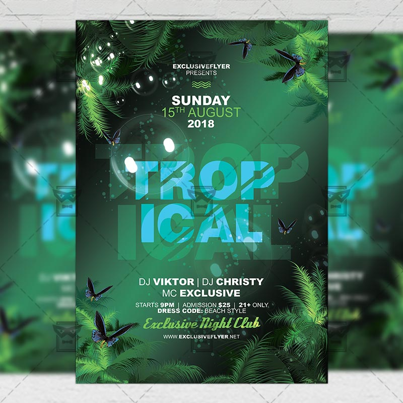 Tropical Mood Flyer Seasonal A5 Template Exclsiveflyer