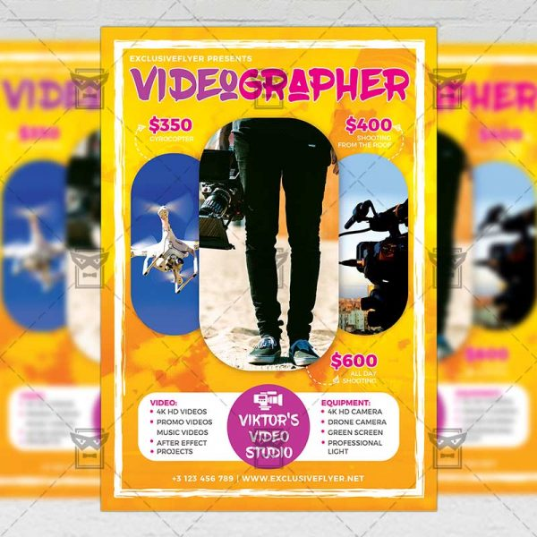 Download Videographer PSD Flyer Template Now