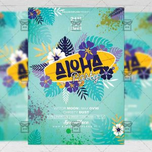Download Aloha Party PSD Flyer Template Now