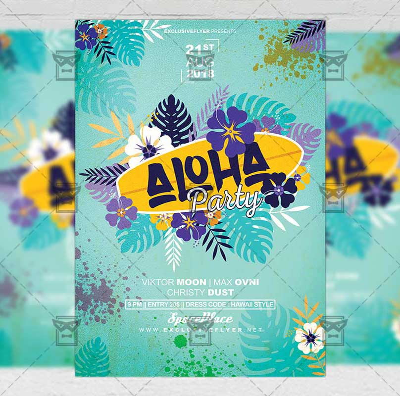 Aloha Party Flyer Seasonal A5 Template Exclsiveflyer Free And
