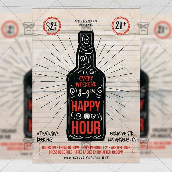 Download Happy Hour PSD Flyer Template Now