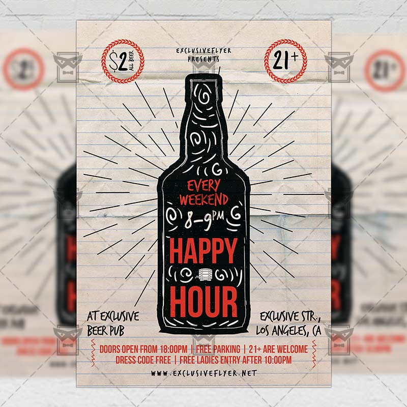 Happy Hour Flyer Food A5 Template Exclsiveflyer Free And