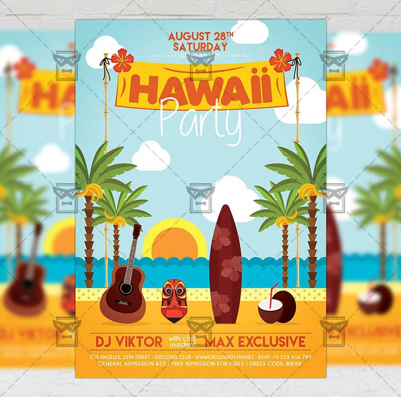 hawaii night flyer seasonal a5 template exclsiveflyer free and