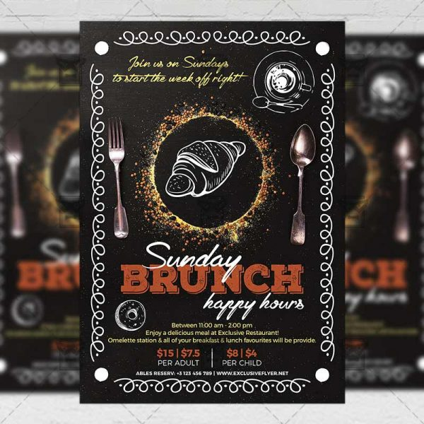 Download Sunday Brunch Happy Hours PSD Flyer Template Now