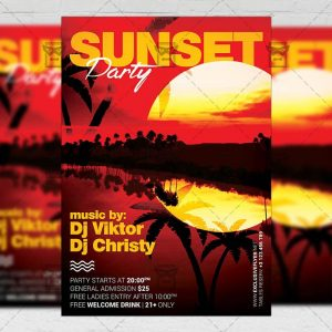 Download Sunset Party PSD Flyer Template Now