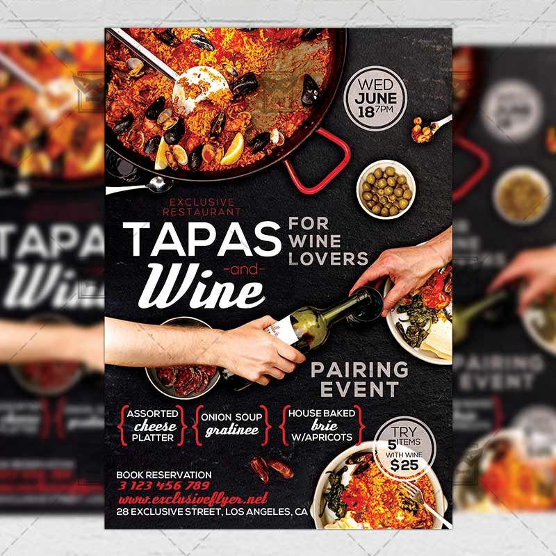 Tapas and wine flyer food a5 template exclsiveflyer free and download tapas and wine psd flyer template now maxwellsz