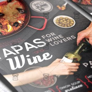 Download Tapas and Wine PSD Flyer Template Now