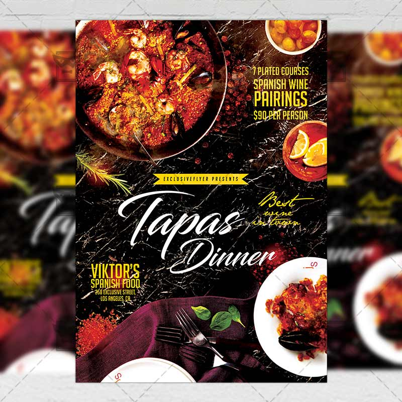 tapas dinner flyer food a5 template exclsiveflyer free and