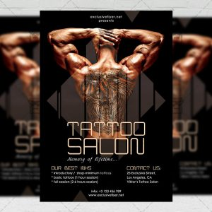 Download Tattoo Salon PSD Flyer Template Now