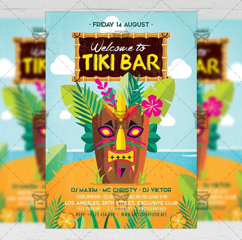 Tiki Bar Flyer Seasonal A5 Template Exclsiveflyer Free And