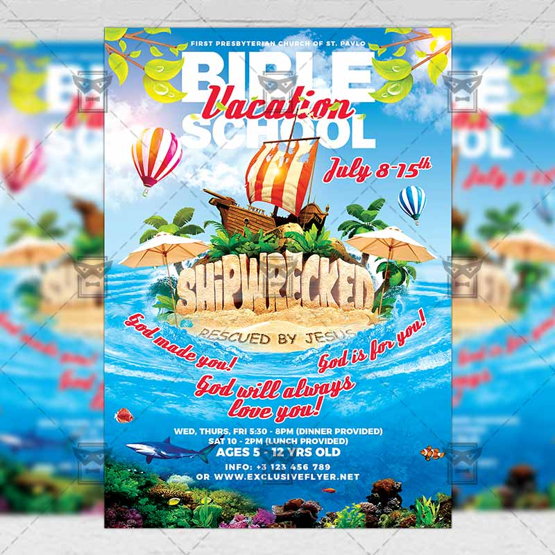 vacation bible school church a5 flyer template. Black Bedroom Furniture Sets. Home Design Ideas