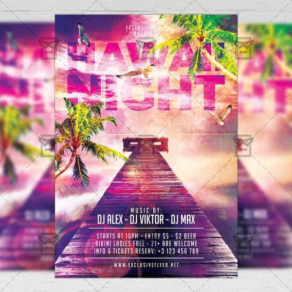 Download Hawaii Night PSD Flyer Template Now