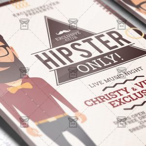 Download Hipster Only PSD Flyer Template Now