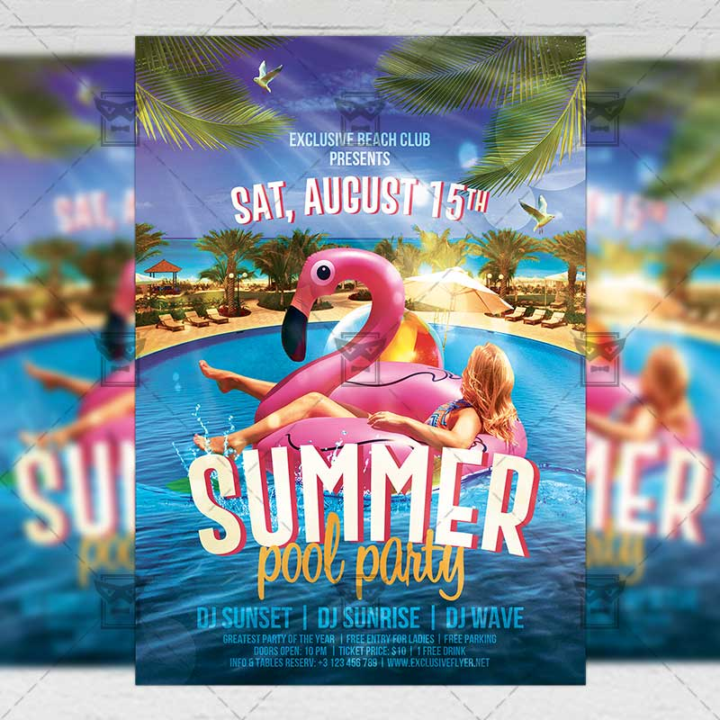 summer pool party flyer seasonal a5 template exclsiveflyer