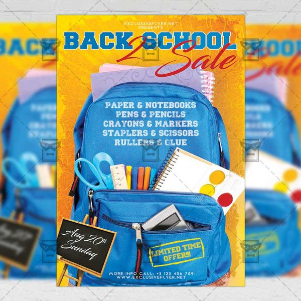 Download Back 2 School Sale PSD Flyer Template Now