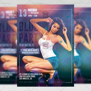 Download Blue Party PSD Flyer Template Now