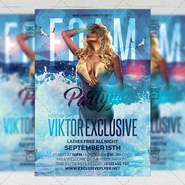 Download Foam Party PSD Flyer Template Now