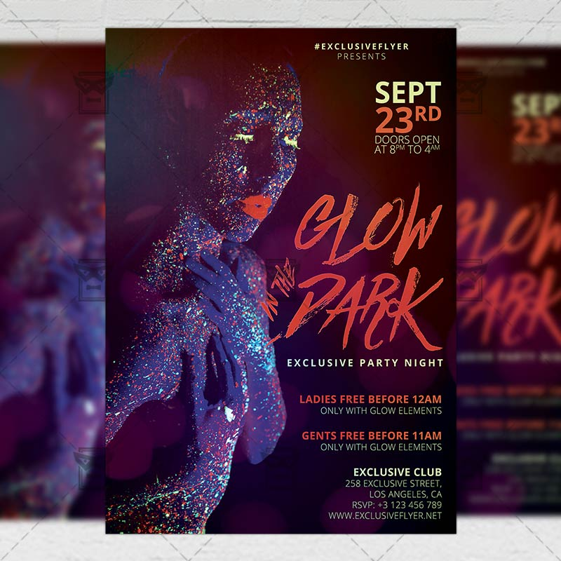 Glow in the Dark Flyer – Club A5 Template
