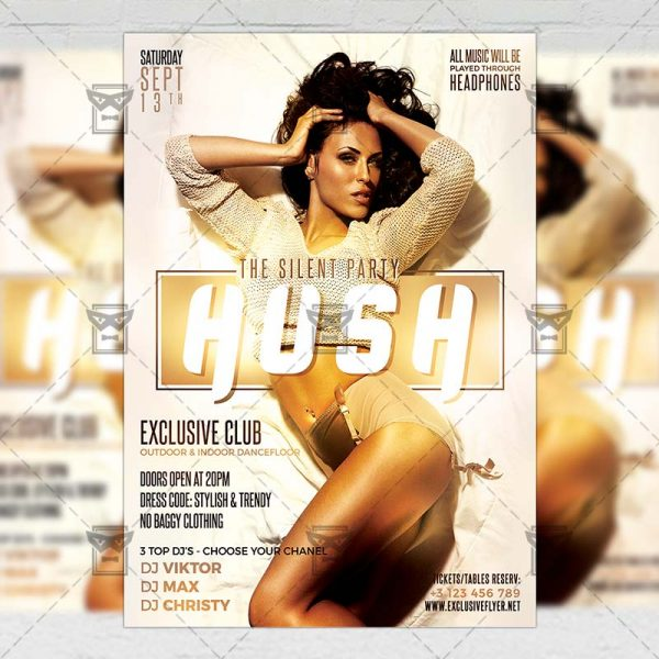 Download Hush Party PSD Flyer Template Now
