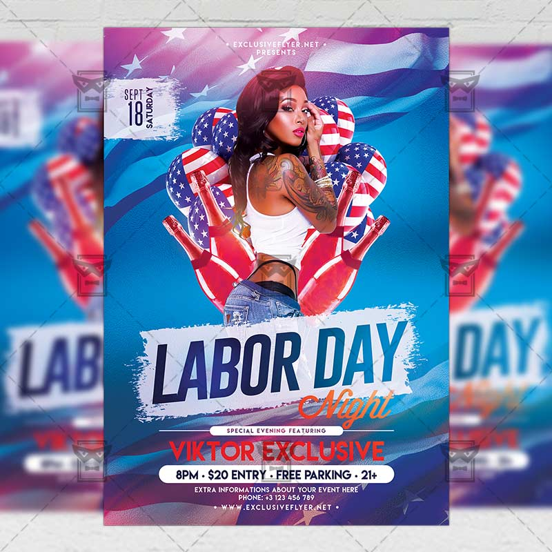 Mom Day Sale Ͽ� Seasonal A5 Flyer Template: Labor Day Night Flyer