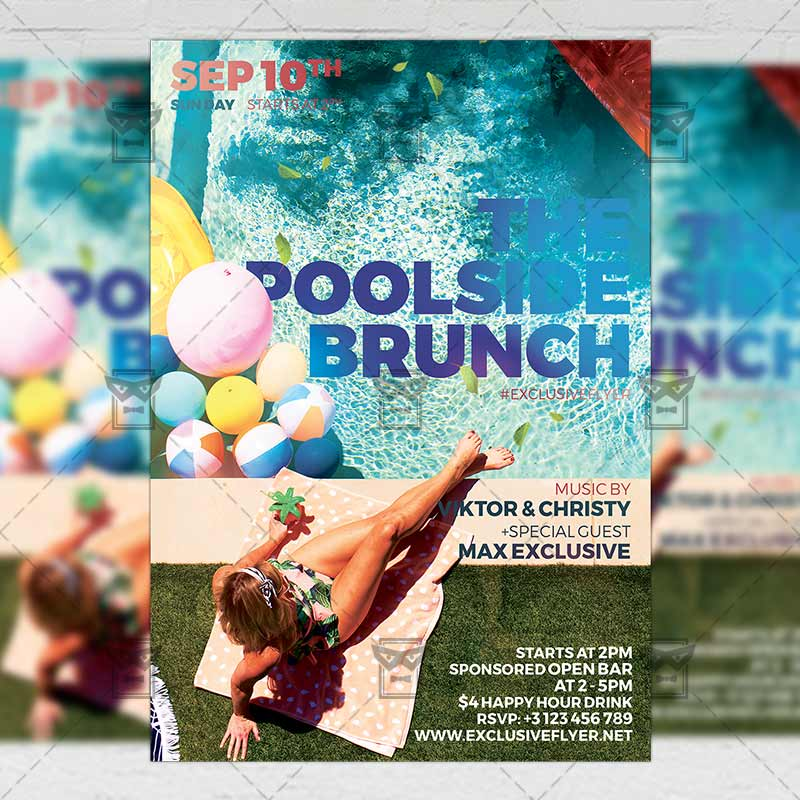 Poolside Brunch Psd Flyer Template Now