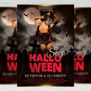 Download Sexy Halloween PSD Flyer Template Now