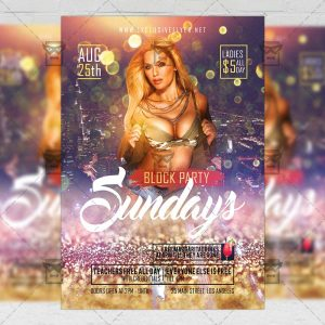 Download Sundays Block Party PSD Flyer Template Now