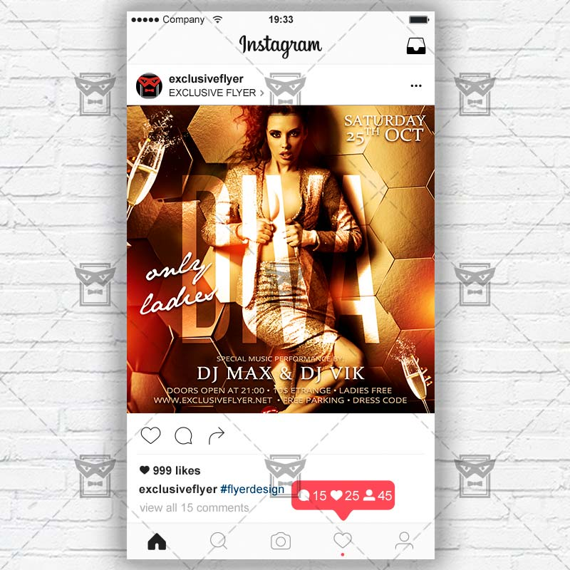 diva party instagram flyer template exclsiveflyer free and premium psd templates. Black Bedroom Furniture Sets. Home Design Ideas