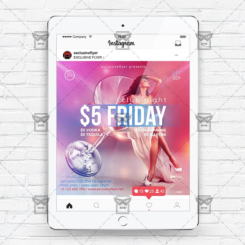 friday night instagram flyer template exclsiveflyer free and premium psd templates. Black Bedroom Furniture Sets. Home Design Ideas