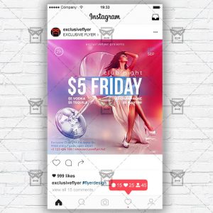 Download Friday Night PSD Instagram Flyer Template Now