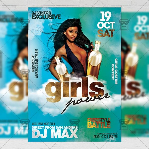 Download Girls Power Night PSD Flyer Template Now