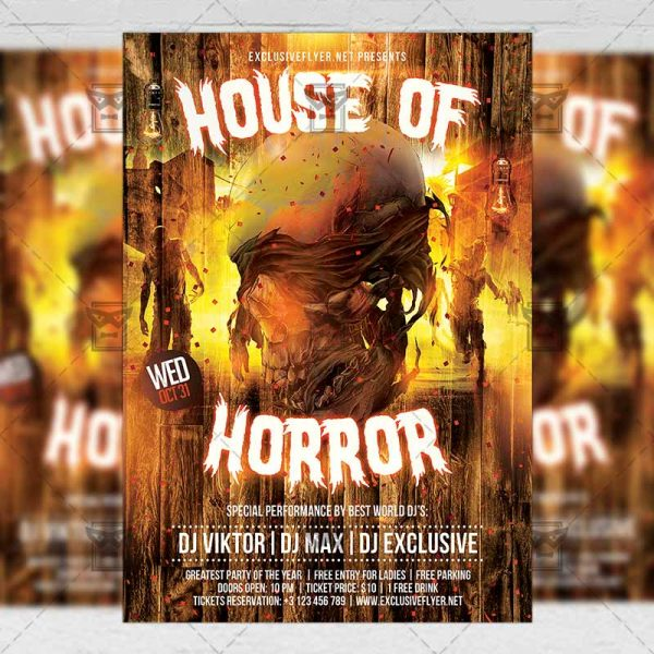 Download House of Horror PSD Flyer Template Now