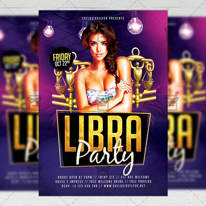15 Excellent Flyer Templates For Your Next Event: Libra Party €� Zodiac A5 Flyer Template