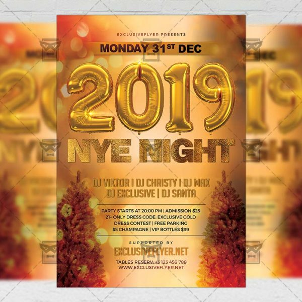 Download 2019 NYE Night PSD Flyer Template Now
