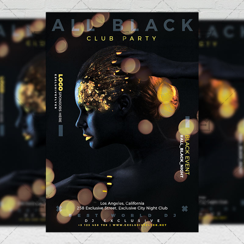 all black party flyer club a5 template exclsiveflyer free and