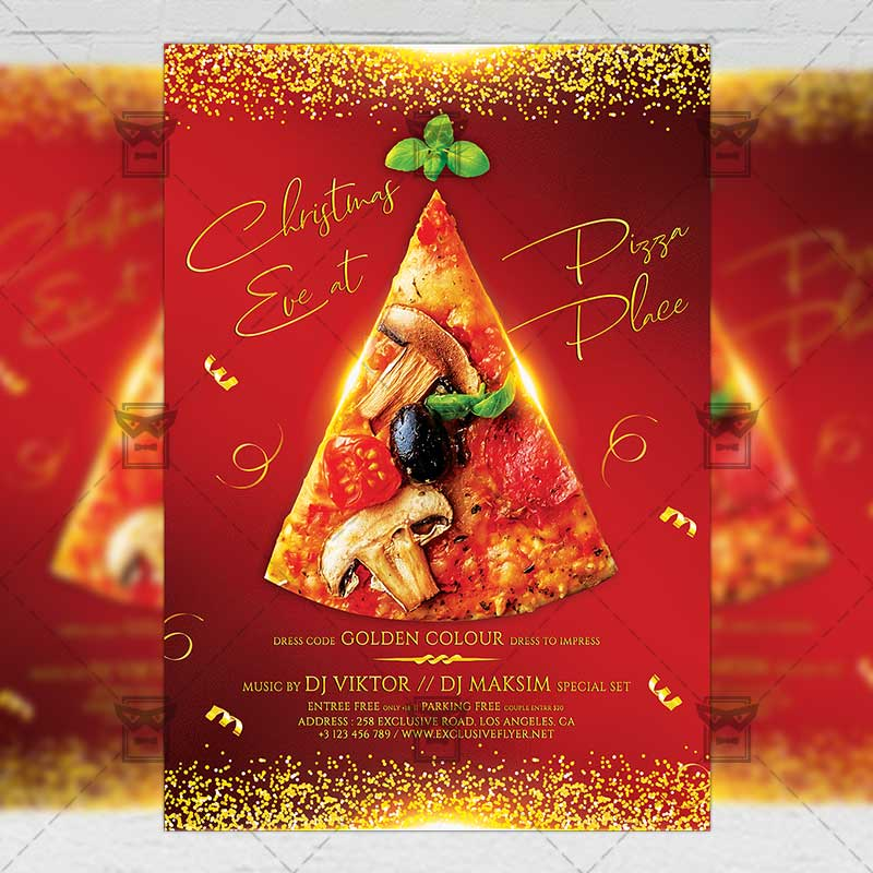 Seasonal A5 Flyer Template: Christmas Eve Party Flyer
