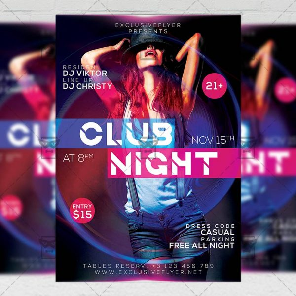 Download Club Night Party PSD Flyer Template Now