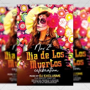 Download Dia de Los Muertos Celebration PSD Flyer Template Now