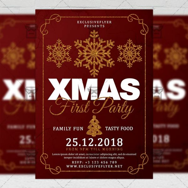 Download First Christmas Party PSD Flyer Template Now