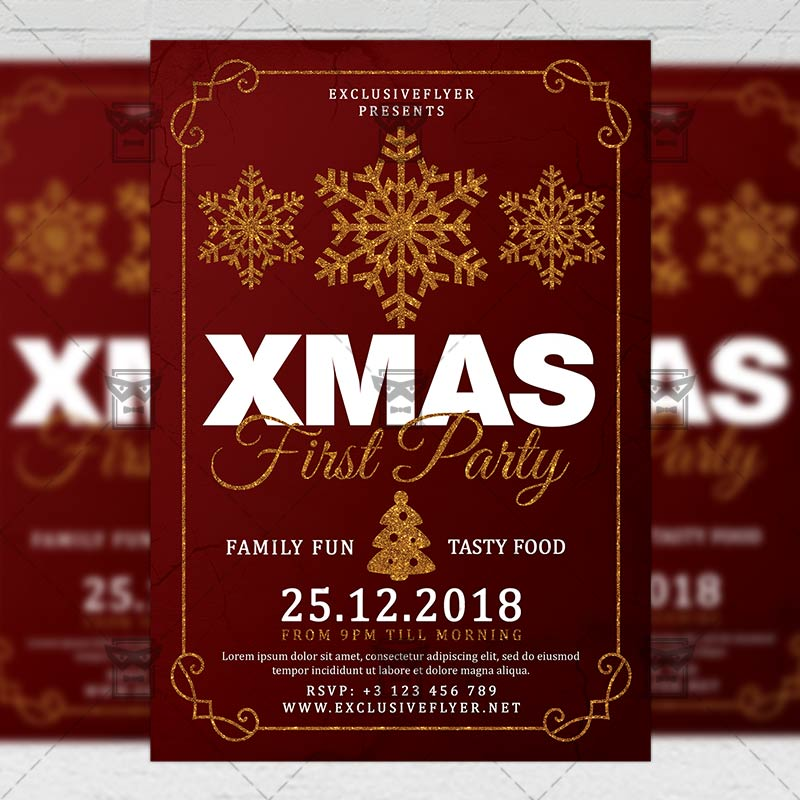 Christmas Party Flyer Template.First Christmas Party Flyer Seasonal A5 Template