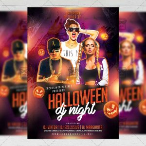 Download Halloween Dj Night PSD Flyer Template Now