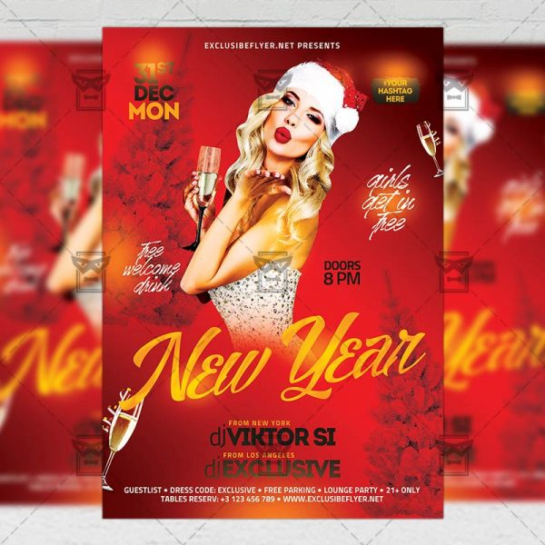 Download New Year Night 2019 PSD Flyer Template Now