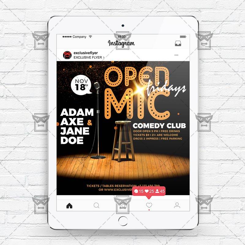 open mic fridays instagram flyer template exclsiveflyer free and premium psd templates. Black Bedroom Furniture Sets. Home Design Ideas