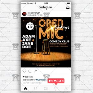 Download Open Mic Fridays PSD Instagram Flyer Template Now