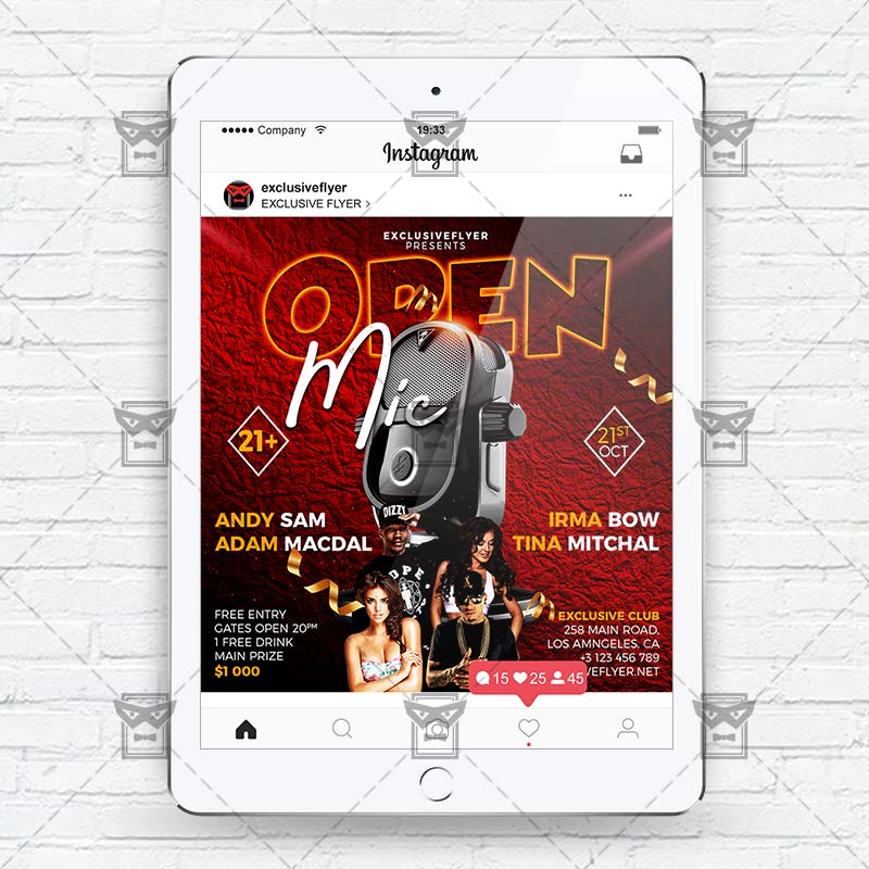 open mic instagram flyer template exclsiveflyer free and premium psd templates. Black Bedroom Furniture Sets. Home Design Ideas